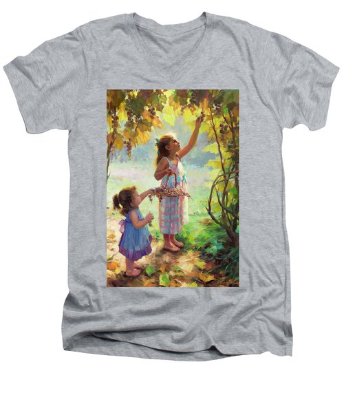 Men's V-Neck T-Shirt featuring the painting The Harvesters by Steve Henderson