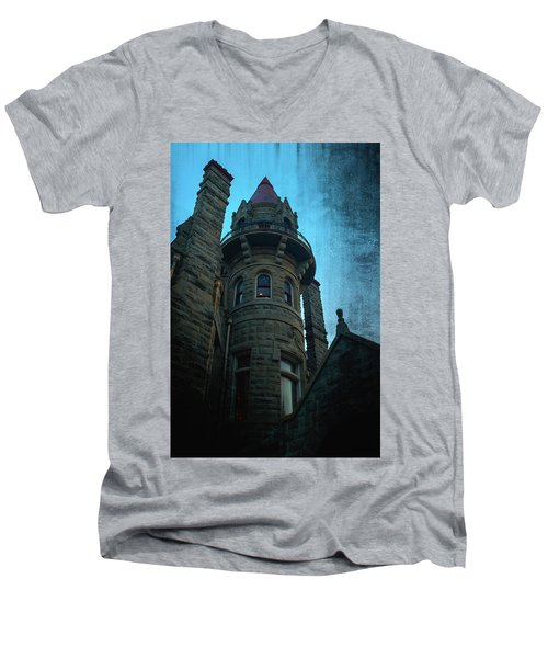 The Haunted Tower Men's V-Neck T-Shirt by Keith Boone