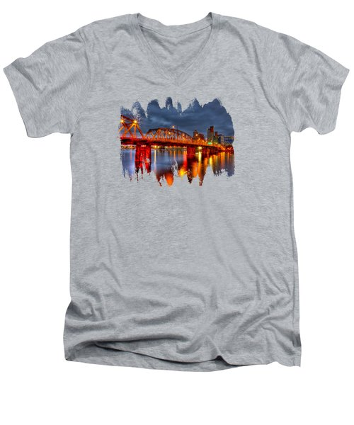 Men's V-Neck T-Shirt featuring the photograph The Hawthorne Bridge - Pdx by Thom Zehrfeld