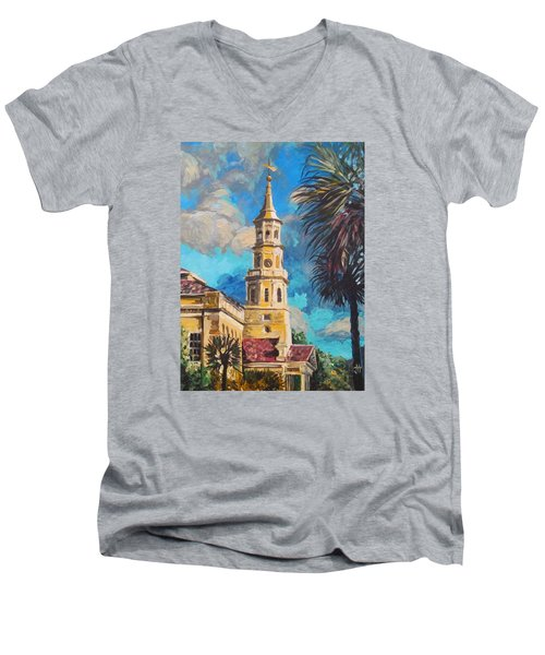 Men's V-Neck T-Shirt featuring the painting The Heart Of Charleston by Jennifer Hotai