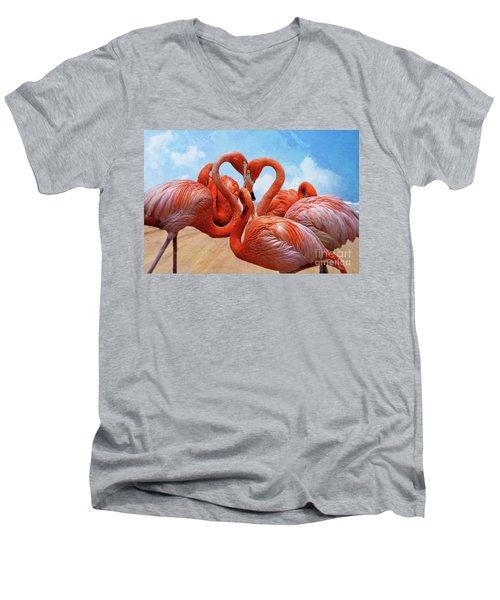 The Heart Of The Flamingos Men's V-Neck T-Shirt by John Kolenberg