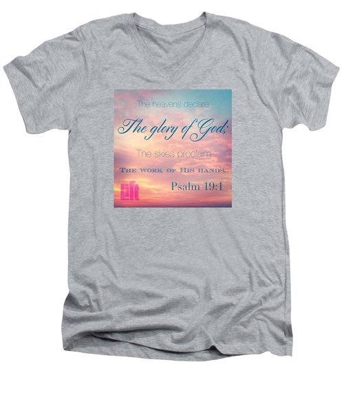 The Heavens Declare The Glory Of God Men's V-Neck T-Shirt by LIFT Women's Ministry designs --by Julie Hurttgam
