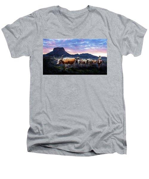 Texas Longhorns Blue Men's V-Neck T-Shirt