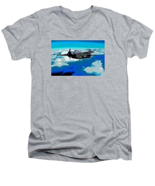 The High Flight Of A Grumman F4f Wildcat Men's V-Neck T-Shirt by Wernher Krutein