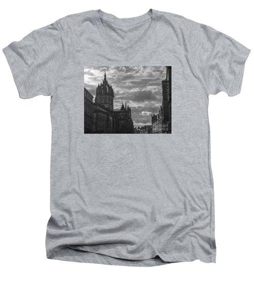 The High Kirk Of Edinburgh Men's V-Neck T-Shirt by Amy Fearn