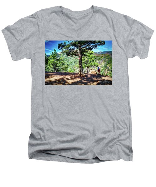 Men's V-Neck T-Shirt featuring the photograph The Hike by Deborah Klubertanz