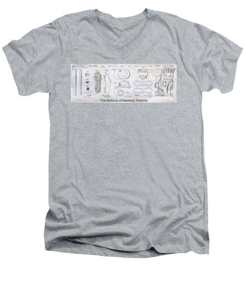 The History Of Baseball Patents Men's V-Neck T-Shirt by Jon Neidert