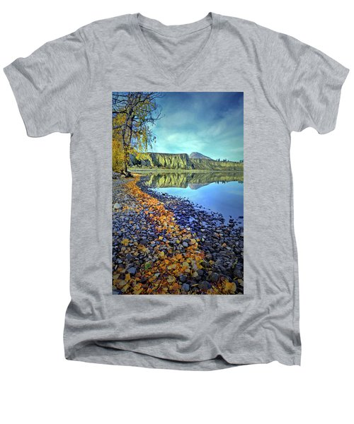 Men's V-Neck T-Shirt featuring the photograph The Hoodoos And Highway 97 by Tara Turner