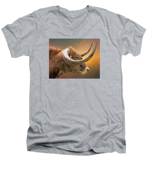 The Horns Men's V-Neck T-Shirt by David and Carol Kelly