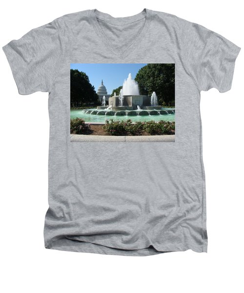 Men's V-Neck T-Shirt featuring the painting The House Of Democracy by Rod Jellison