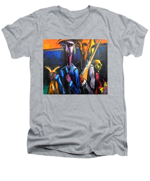 Men's V-Neck T-Shirt featuring the painting The Hunters by Kenneth Agnello