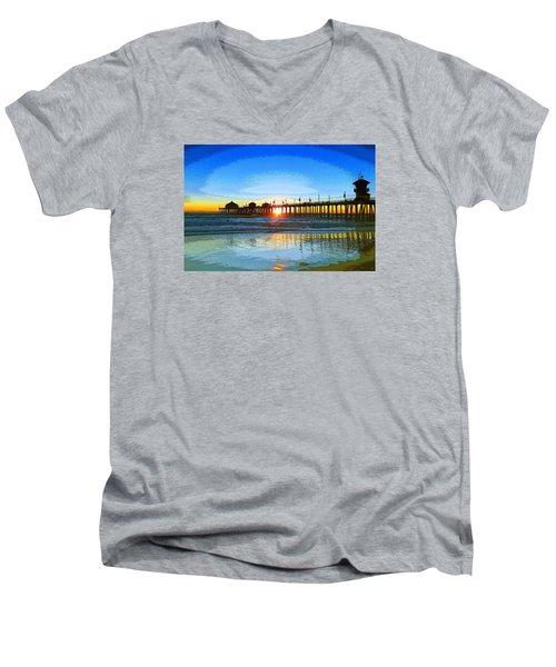 The Huntington Beach Pier Men's V-Neck T-Shirt by Everette McMahan jr