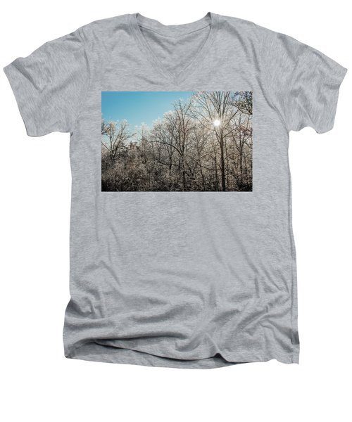 Men's V-Neck T-Shirt featuring the photograph The Ice Storm by Penny Lisowski