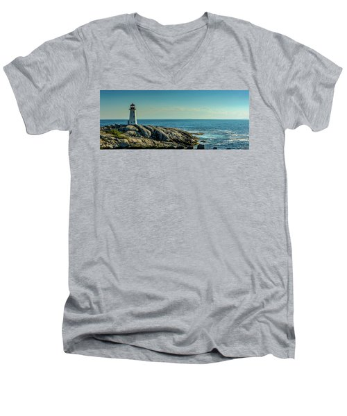 The Iconic Lighthouse At Peggys Cove Men's V-Neck T-Shirt by Ken Morris