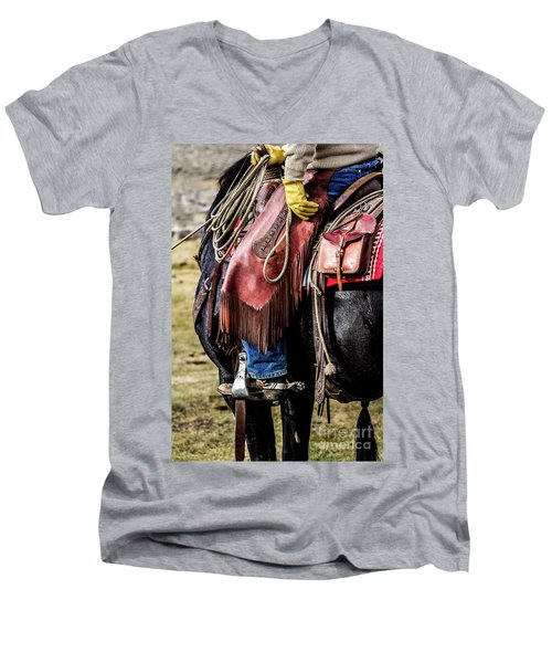 The Idaho Cowboy Western Art By Kaylyn Franks Men's V-Neck T-Shirt