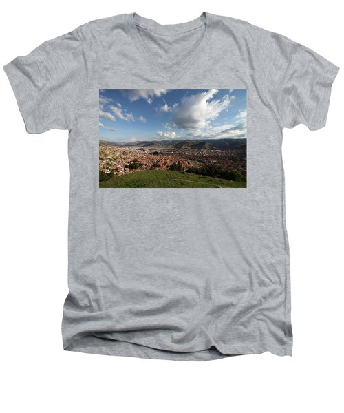 Men's V-Neck T-Shirt featuring the photograph The Inca Capital Of Cusco by Aidan Moran