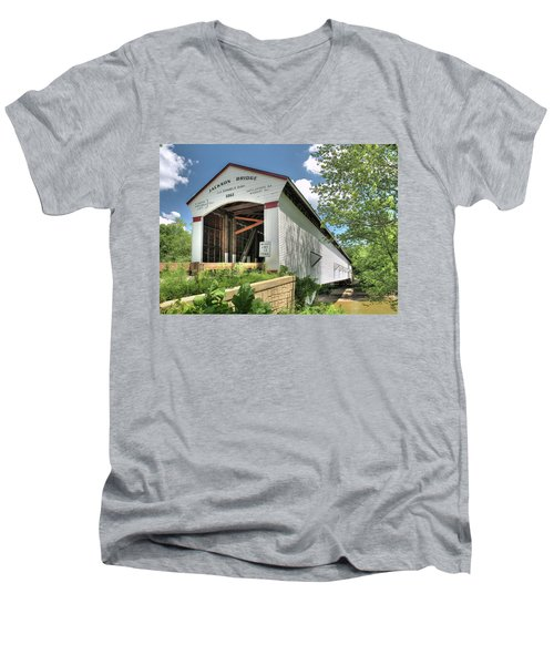 Men's V-Neck T-Shirt featuring the photograph The Jackson Covered Bridge by Harold Rau