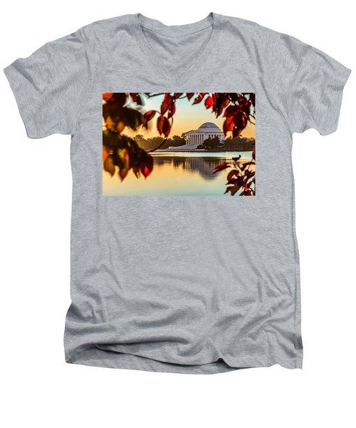 Jefferson In Autumn Men's V-Neck T-Shirt