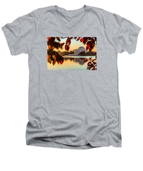 Jefferson In Autumn Men's V-Neck T-Shirt