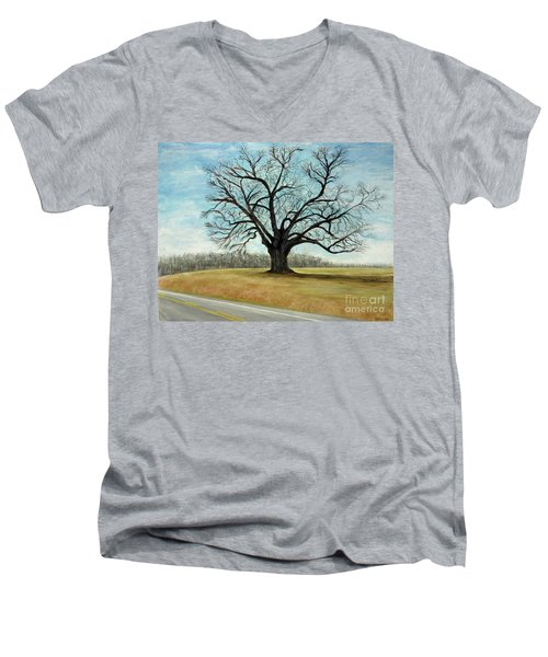 The Keeler Oak Men's V-Neck T-Shirt by Lyric Lucas