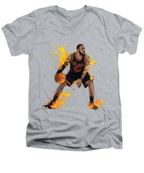 The King James Men's V-Neck T-Shirt by Akyanyme