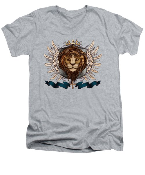 The King's Heraldry II Men's V-Neck T-Shirt by April Moen