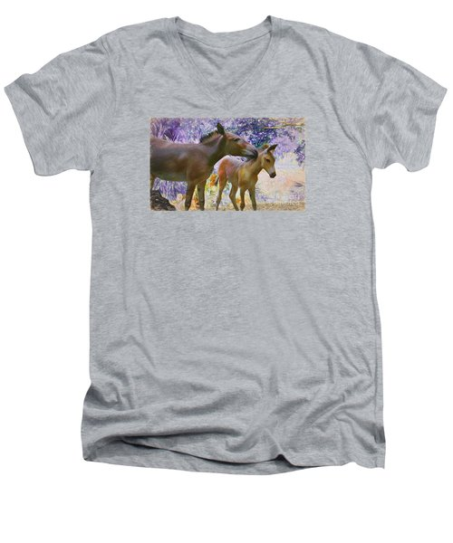 Men's V-Neck T-Shirt featuring the painting The Kiss Edition 2 by Judy Kay
