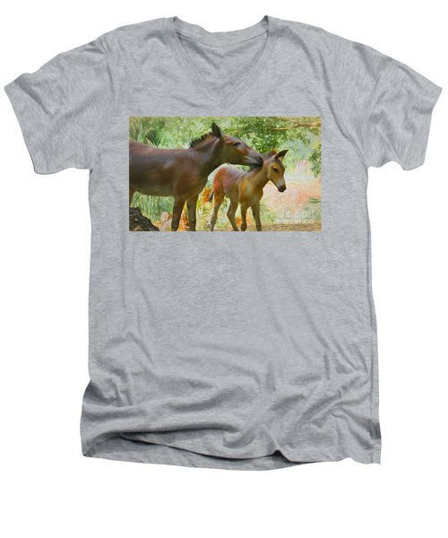 Men's V-Neck T-Shirt featuring the painting The Kiss Edition 3 by Judy Kay