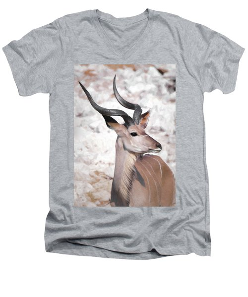 Men's V-Neck T-Shirt featuring the digital art The Kudu Portrait by Ernie Echols