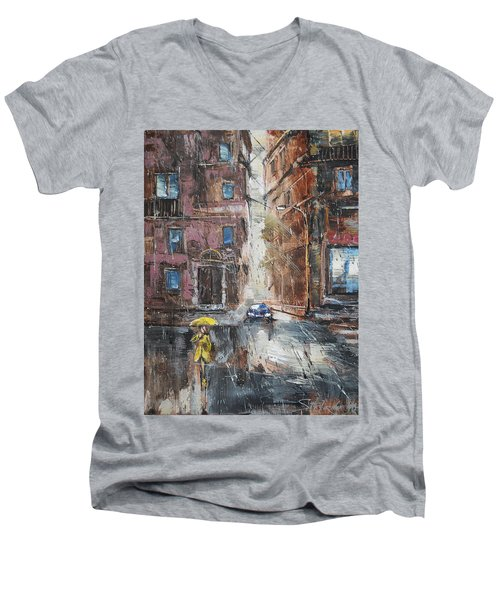 The Lady In Yellow Men's V-Neck T-Shirt
