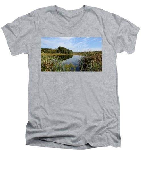 Men's V-Neck T-Shirt featuring the photograph The Lake At Cadiz Springs by Kimberly Mackowski