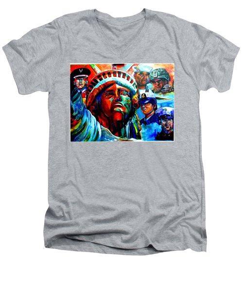 The Land Of The Free  Men's V-Neck T-Shirt