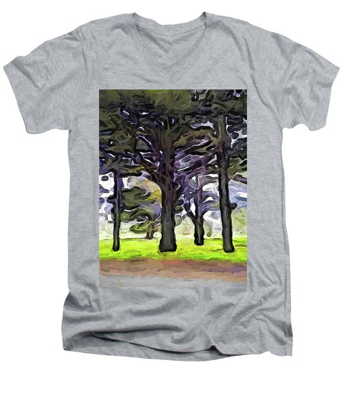 The Landscape With The Trees In A Row Men's V-Neck T-Shirt