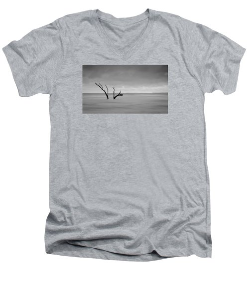 Men's V-Neck T-Shirt featuring the photograph I'm Not Alone - Folly Beach Sc by Donnie Whitaker