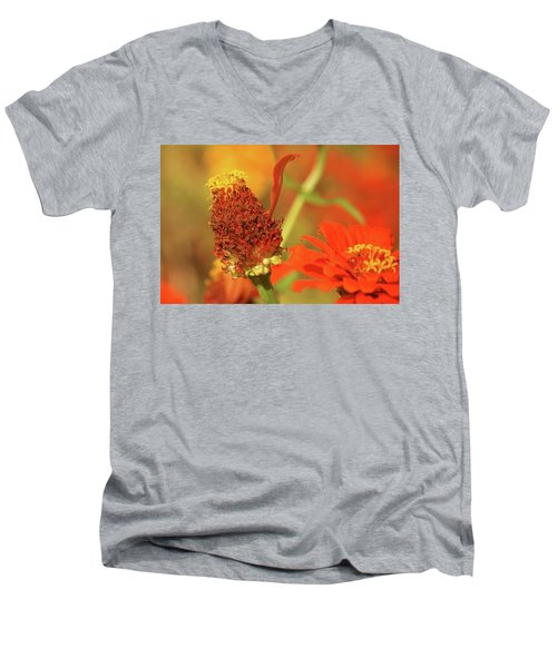 Men's V-Neck T-Shirt featuring the photograph The Last Petal by Donna G Smith