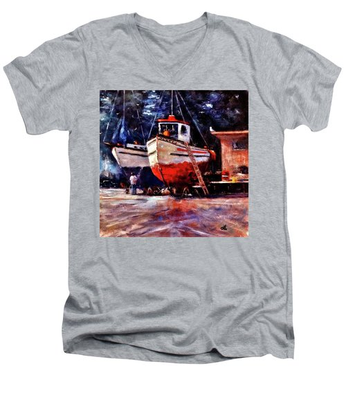 The Last Repairs.. Men's V-Neck T-Shirt by Cristina Mihailescu