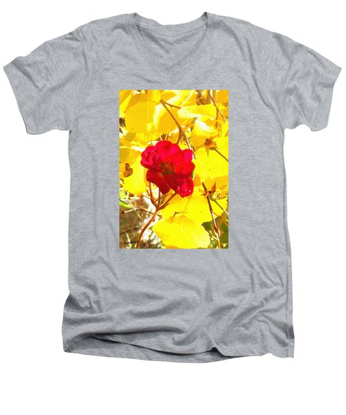 The Last Rose Of Autumn Men's V-Neck T-Shirt by Anastasia Savage Ealy