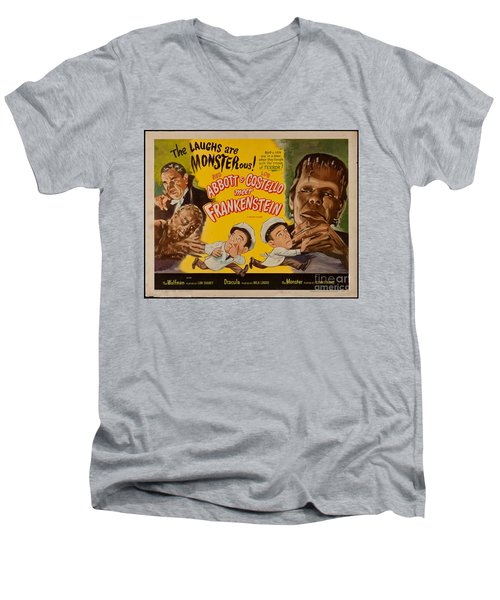 The Laughs Are Monsterous Abott An Costello Meet Frankenstein Classic Movie Poster Men's V-Neck T-Shirt by R Muirhead Art