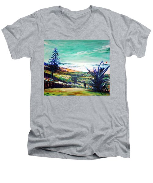 Men's V-Neck T-Shirt featuring the painting The Lawn Pandanus by Winsome Gunning