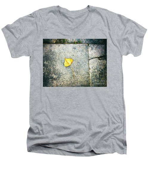 Men's V-Neck T-Shirt featuring the photograph The Leaf by Silvia Ganora