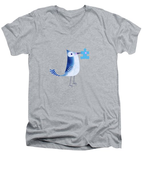 The Letter Blue J Men's V-Neck T-Shirt by Valerie Drake Lesiak