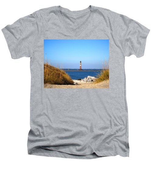 The Lighhouse At Morris Island Charleston Men's V-Neck T-Shirt