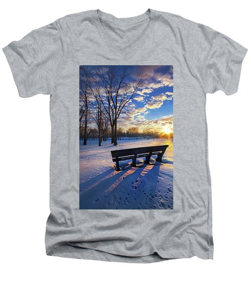 Men's V-Neck T-Shirt featuring the photograph The Light That Beckons by Phil Koch
