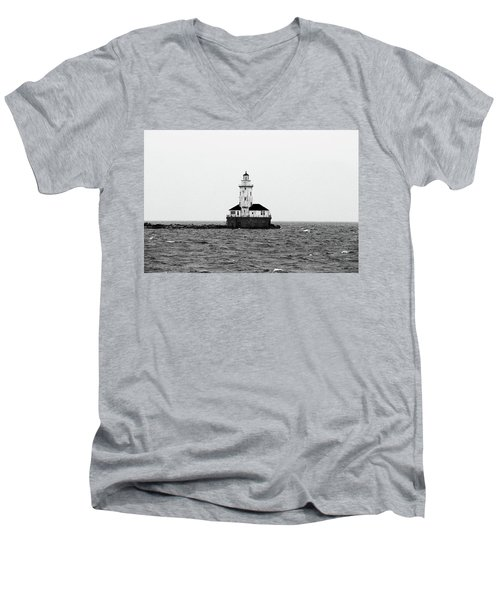 The Lighthouse Black And White Men's V-Neck T-Shirt