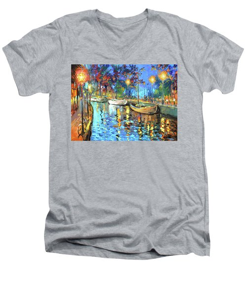 The Lights Of The Sleeping City Men's V-Neck T-Shirt by Dmitry Spiros
