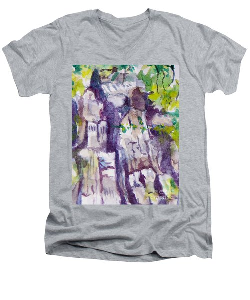The Little Climbing Wall Men's V-Neck T-Shirt by Jan Bennicoff