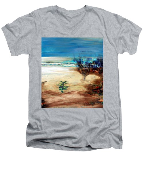 Men's V-Neck T-Shirt featuring the painting The Little Pine Tree by Winsome Gunning