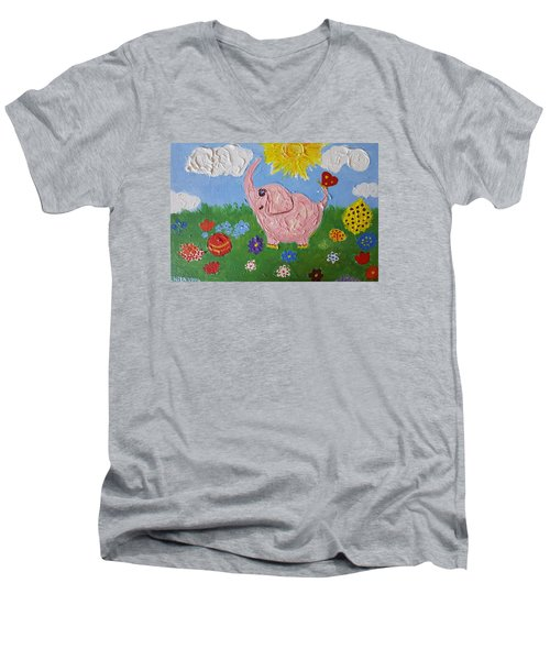 Little Pink Elephant Men's V-Neck T-Shirt