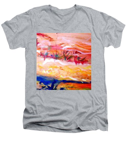 Men's V-Neck T-Shirt featuring the painting The Living Dunes by Winsome Gunning