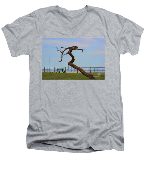 The Lone Tree Men's V-Neck T-Shirt by Roberta Byram
